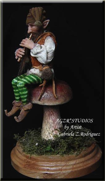Ooak Handmade Dwarf Elf Gnome in polymer clay agzr studios