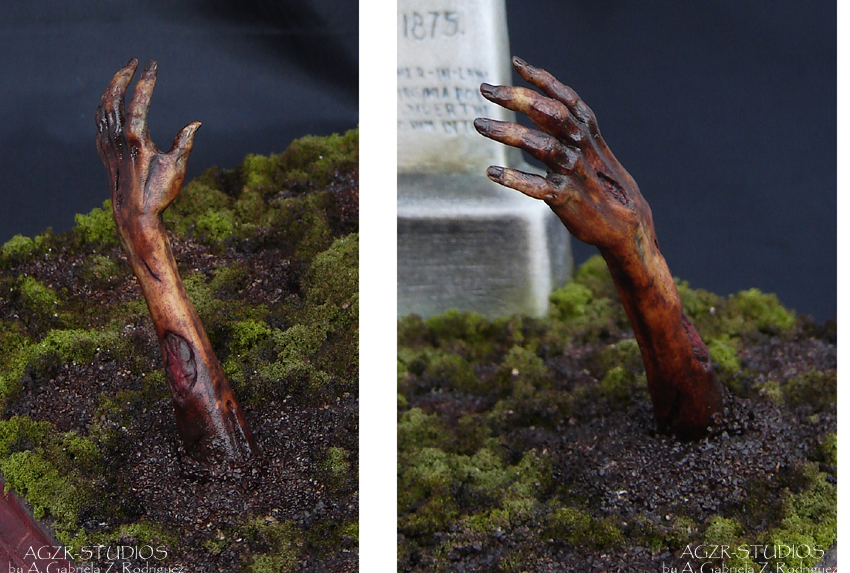 Zombie Hand for ooak resident evil Alice Sculpture in polymer clay