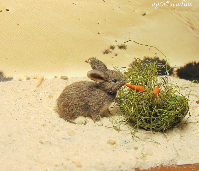 1:12 miniature furred wild bunny rabbit eating carrots realistic dollhouse