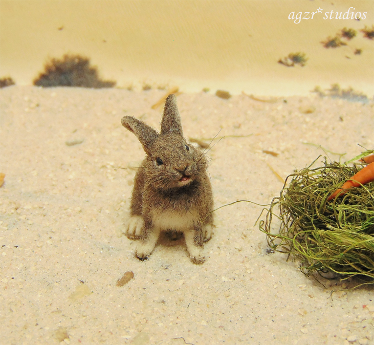 1:12 miniature furred bunny rabbit wild realistic dollhouse agzr studios eating carrots