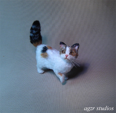 1:12 handmade miniature 1:12 dollhouse calico cat kitten agzr studios ooak