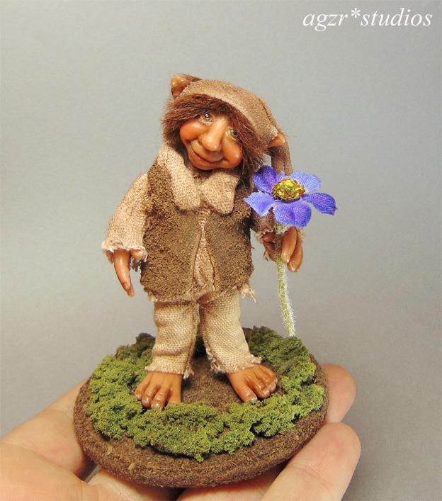 Ooak Handmade Poseable Dwarf Elf Gnome in polymer clay
