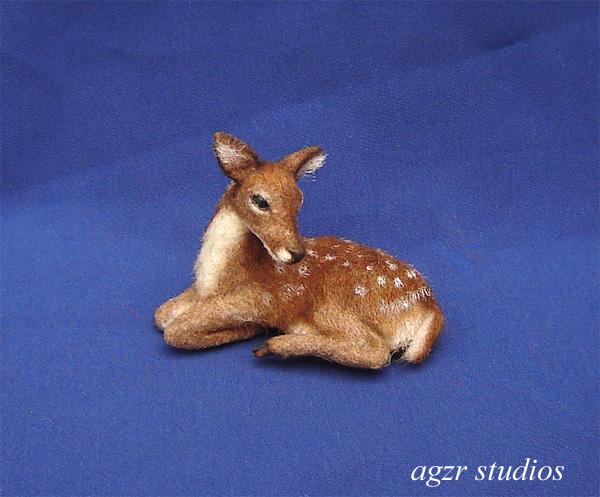 1:12 ooak handmade lying fawn deer realistic dollhouse