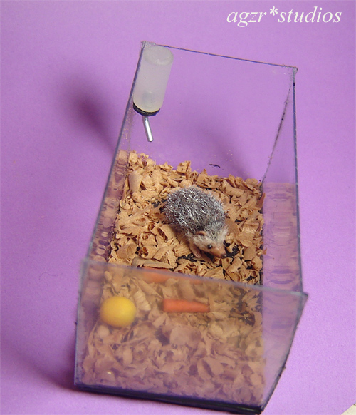 1:12 miniature hedgehog in tank handmade handsculpted dollhouse