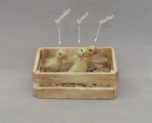 1:12 miniature ducklings ooak handmade furred dollhouse