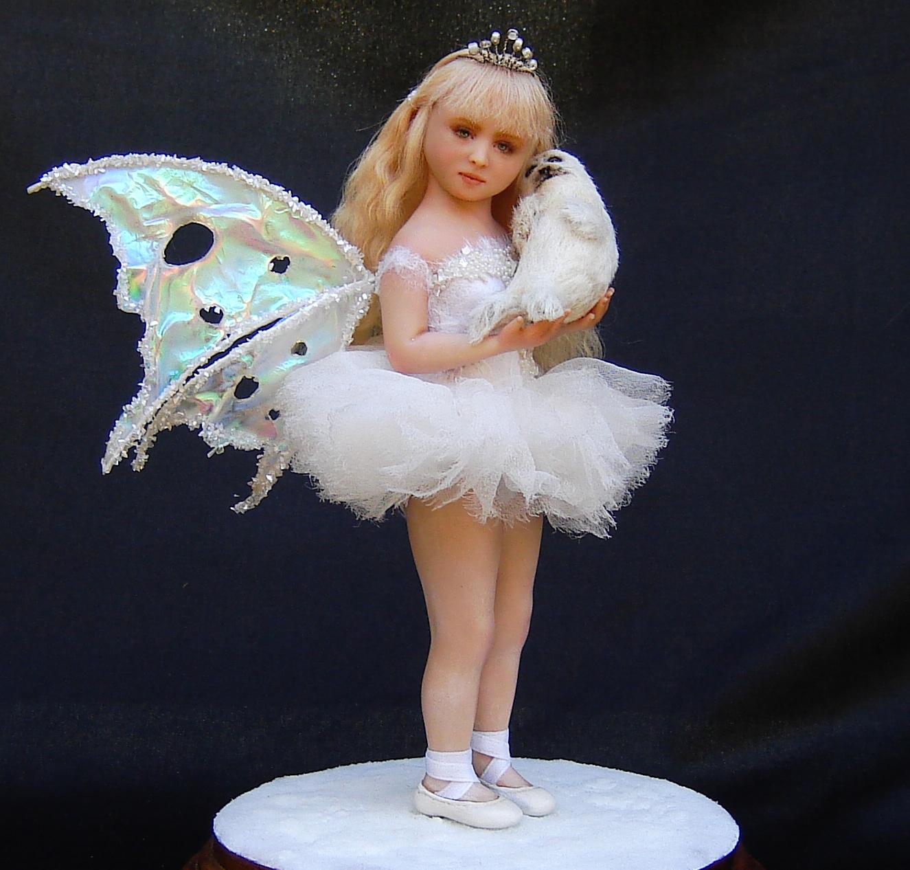 Ooak Fairy Fae Girl Harp Seal Doll Handmade in polymer clay