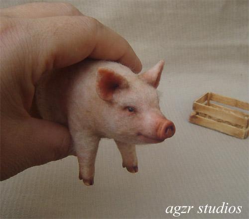 1:12 handmade pig realistic farm animal furred ooak