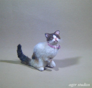 Ooak 1:12 dollhouse calico cat handmade furred realistic