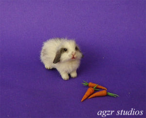 1:12 dollhouse furred miniature lop bunny rabbit white grey