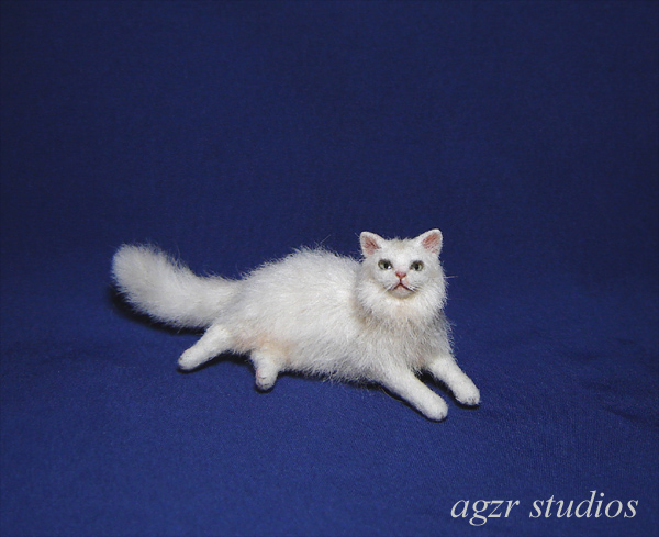 Ooak 1:12 turkish angora cat handmade furred realistic dollhouse roombox diorama