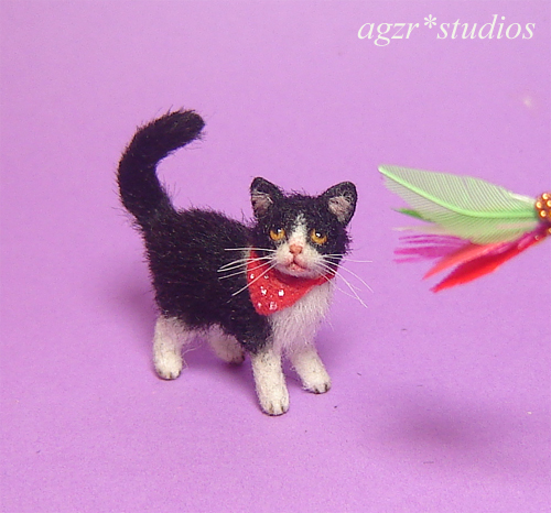 Ooak 1:12 dollhouse kitten cat handmade & furred realistic