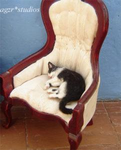 Ooak 1:12 tuxedo cat black white handmade & furred realistic
