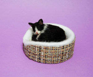 Ooak 1:12 dollhouse sleeping tuxedo cat kitten & bed realistic