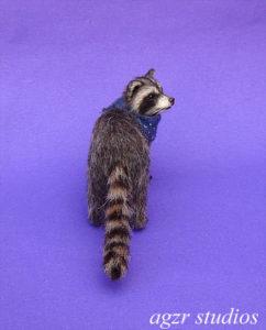 Ooak 1:12 miniature furred racoon george dollhouse scale lifelike adorable pet