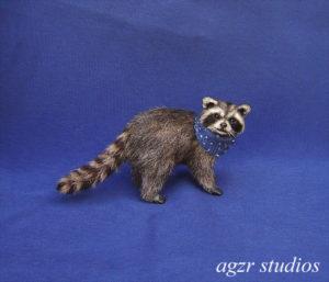 Ooak 1:12 miniature furred racoon dollhouse scale realistic lifelike pet animal wild