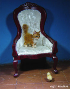 1:12 miniature dollhouse ginger cat kitten chick furred handmade