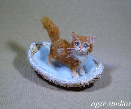 1:12 miniature dollhouse ginger cat kitten furred handmade