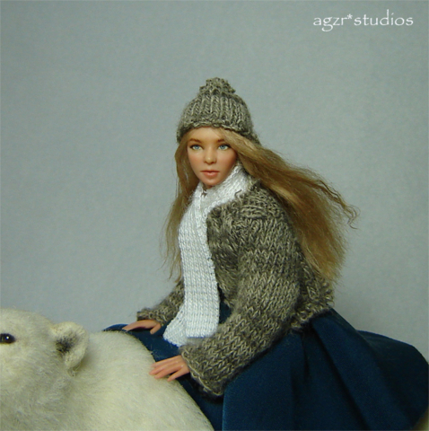 Ooak 1:12 scale girl doll & bear East of the sun west of the moon