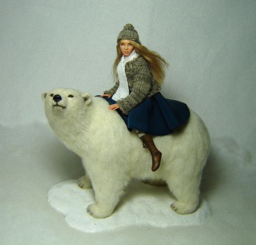 Ooak 1:12 scale girl doll sculpture & bear East of the sun west of the moon