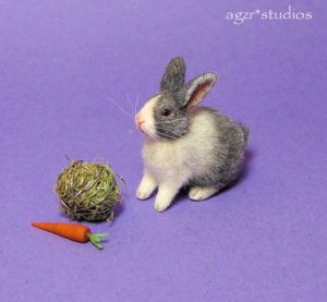 ooak 1:12 miniature dutch white gray rabbit bunny realistic dollhouse