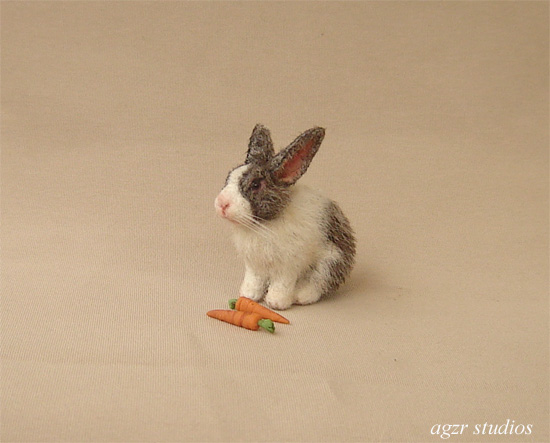 1:12 dollhouse furred miniature bunny rabbit white grey