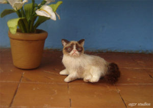 Ooak 1:12 dollhouse grumpy cat handmade furred realistic agzr studios funny cat