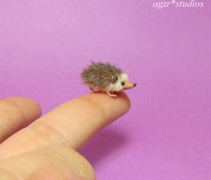 1:12 miniature hedgehog mini furred pet realistic porcupine animal dollhouse diorama