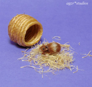 1:12 miniature hamster mouse pet realistic with house rat dollhouse collector item