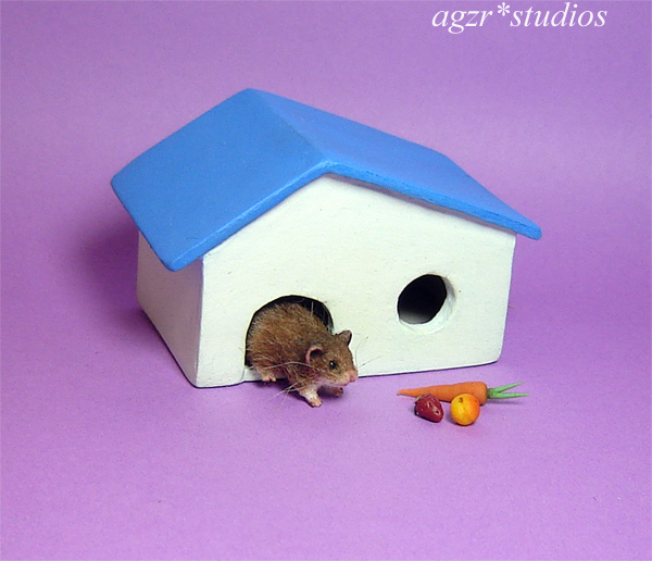 dollhouse miniature 1:12 scale hamster rat mouse handmade furred with house home