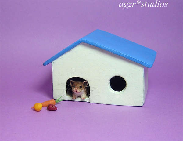 1:12 hamster with house miniature scale dollhouse handmade
