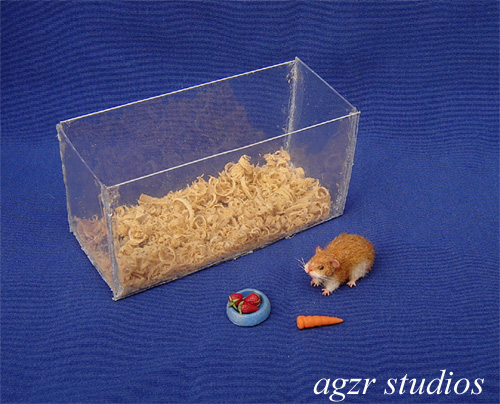 1:12 furred miniature Hamster with tank handmade dollhouse