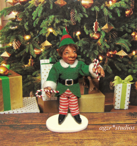 Ooak poseable santa elf Sculpture Doll 1:12 dollhouse Handmade in polymer clay by A Gabriela Z Rodriguez