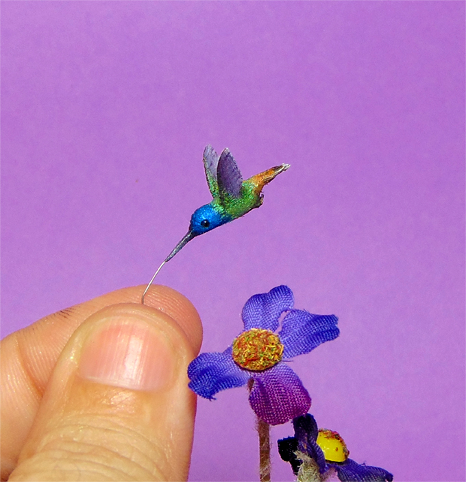 1:12 miniature hummingbird handmade ooak dollhouse diorama roombox