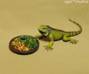 Ooak Handmade 1:12 Iguana dollhouse miniature