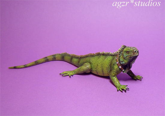 Ooak 1:12 miniature green iguana pet animal handcrafted sculpted by hand