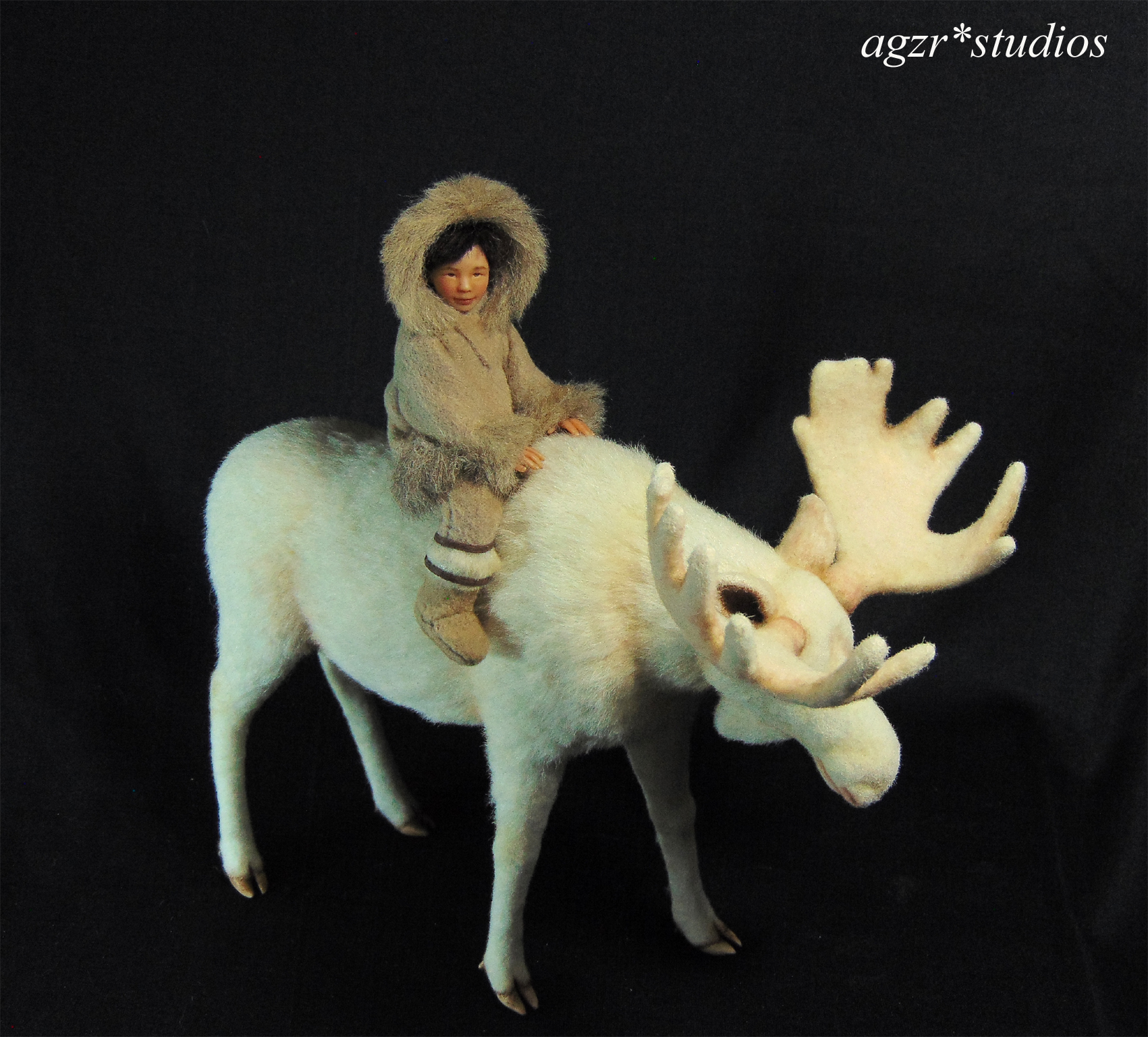 The little inuit with white moose 1:12 scale dollhouse diorama collector art