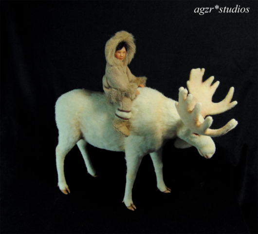 ooak 1:12 scale inuit boy with white moose agzr studios art dolls