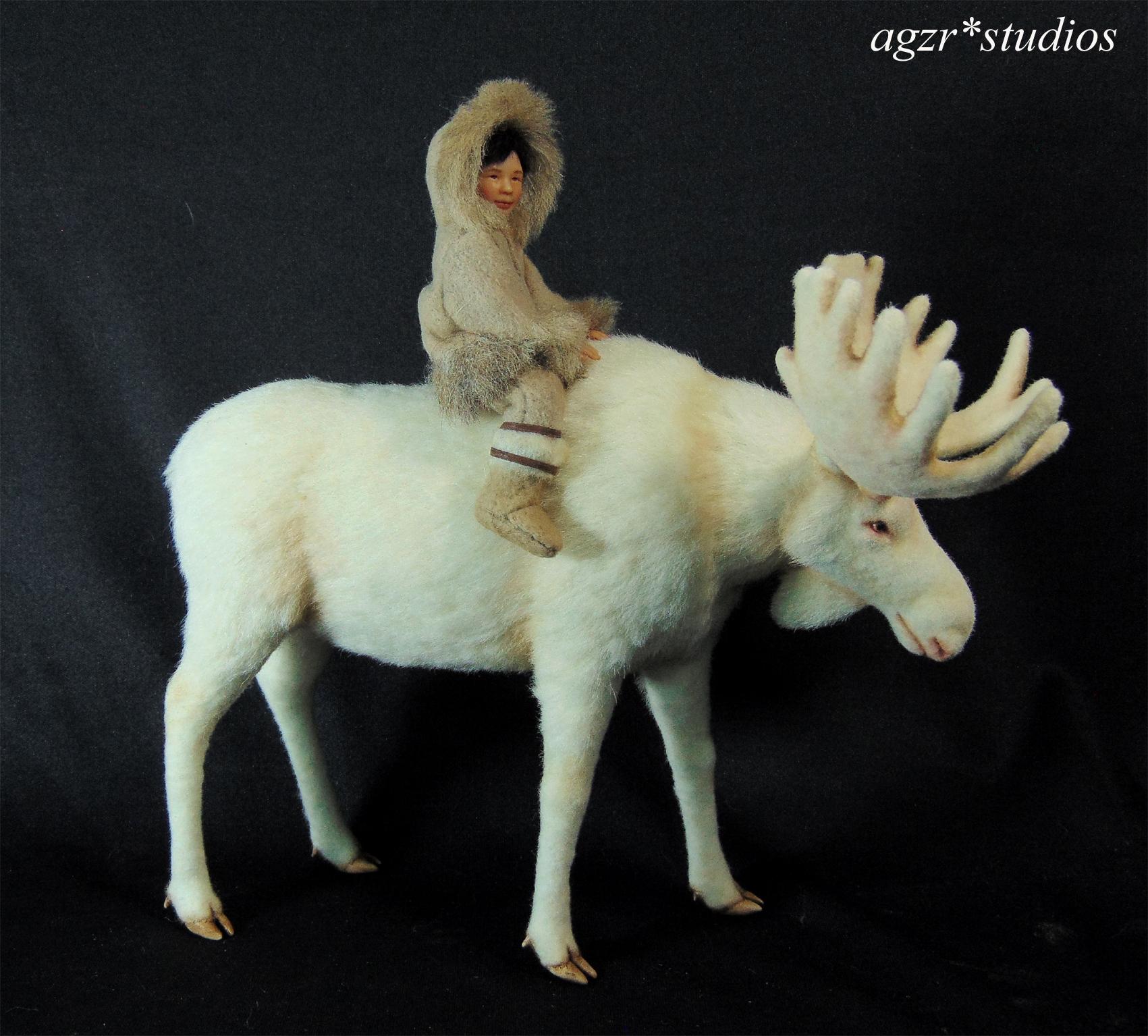 Ooak 1:12 dollhouse miniature white Moose & Inuit boy sculpture art work
