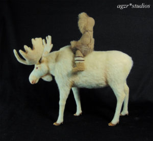 Ooak 1:12 dollhouse miniature white Moose & Inuit boy art doll sculpture realistic