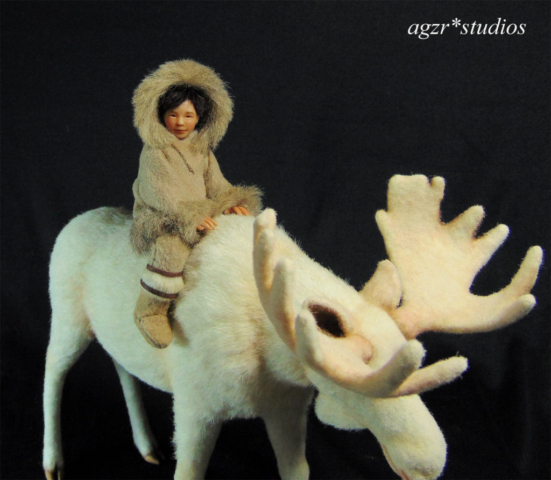 The little inuit with white moose in 1:12 scale sculpture art doll agzr studios