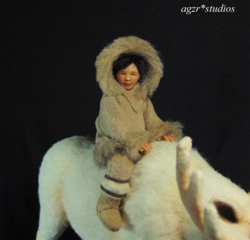 ooak inuit boy kid in polymer clay dollhouse roombox diorama art sculpture a gabriela z rodriguez