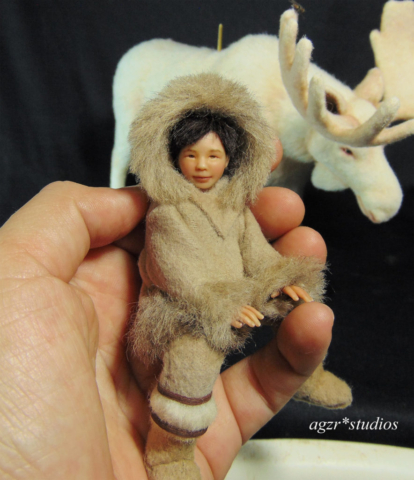 The little inuit Sculpture Art doll in 1:12 scale agzr studios