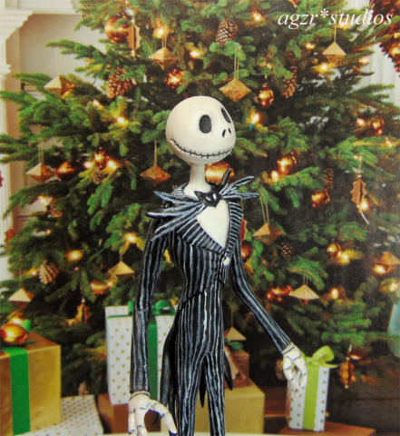 Miniature Jack Skellington art doll sculpture 1:12 scale