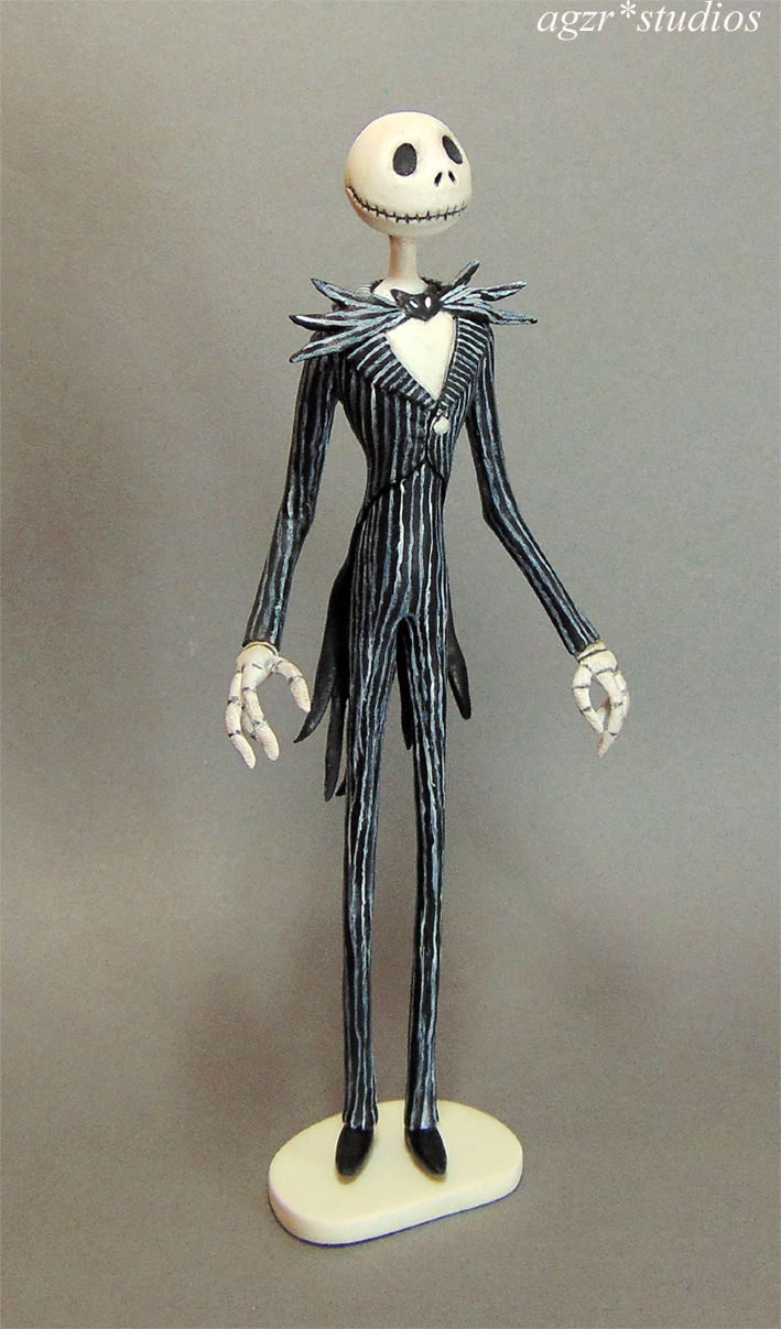Miniature Jack Skellington doll 1:12 scale dollhouse diorama roombox agzr studios