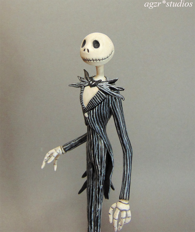 Miniature Jack Skellington 1:12 scale art doll sculpture roombox diorama dollhouse agzr studios