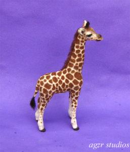 1:12 scale baby giraffe handmade furred lifelike look