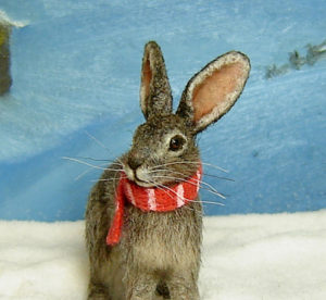 1:12 dollhouse furred miniature wild hare