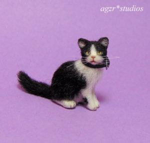 1:12 miniature dollhouse tuxedo kitten