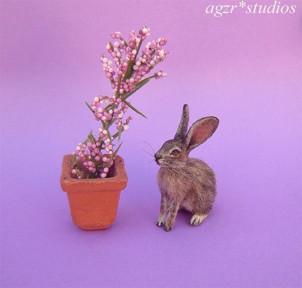 1:12 miniature furred wild hare rabbit bunny realistic ooak dollhouse diorama roombox