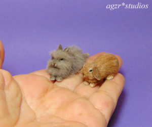 1:12 dollhouse furred miniature lion head & lop yellow bunnies rabbits